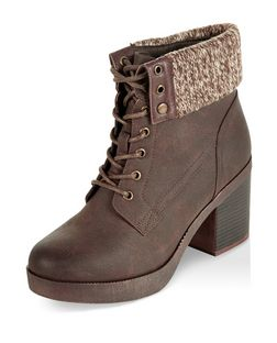 Dark Brown Knitted Cuff Lace Up Block Heel Ankle Boots  | New Look