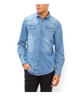 Blue Bleached Denim Long Sleeve Western Shirt  | New Look