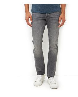 Grey Washed Slim Fit Jeans  | New Look