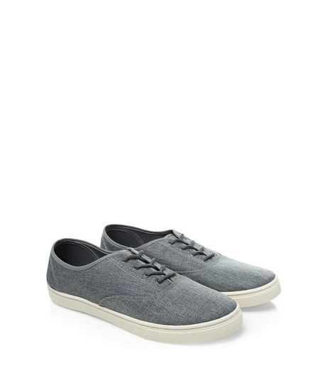 Grey Textured Lace Up Plimsolls  | New Look