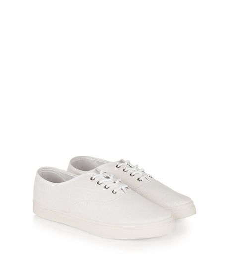 White Textured Lace Up Plimsolls  | New Look