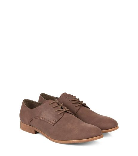 Dark Brown Faux Nubuck Derby Shoes  | New Look