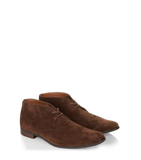 Dark Brown Suedette Chukka Boots  | New Look