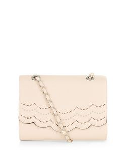 Stone Scallop Trim Chain Strap Shoulder Bag  | New Look