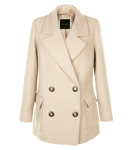 Stone Patch Pocket Pea Coat  | New Look