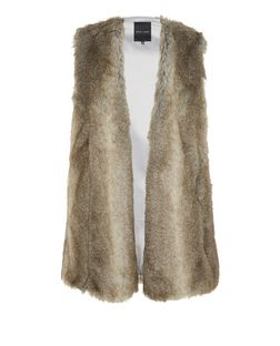 Grey Faux Fur Gilet  | New Look