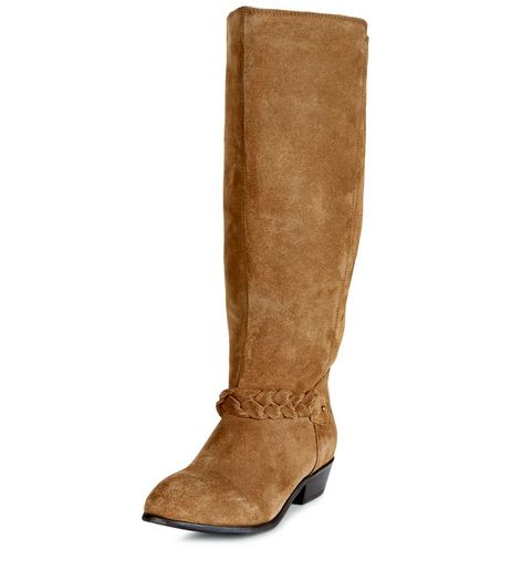 Wide Fit Tan Suede Plaited Strap Knee High Boots  | New Look