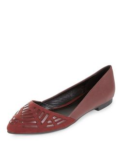 Dark Red Woven Pointed Pumps  | New Look