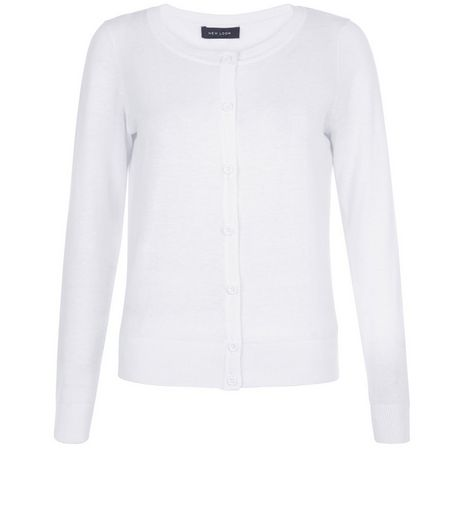 White Basic Crew Neck Cardigan | New Look