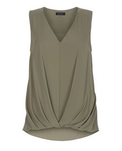 Khaki Tuck Front Bubble Hem Sleeveless Shell Top  | New Look