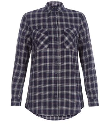 Blue Check Double Pocket Long Sleeve Shirt