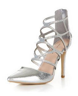 Silver Embellished Cross Strap Pointed Heels  | New Look