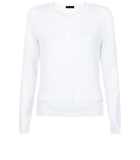 White Crew Neck Cardigan | New Look