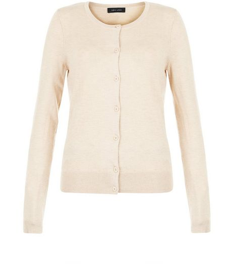 Stone Crew Neck Cardigan | New Look