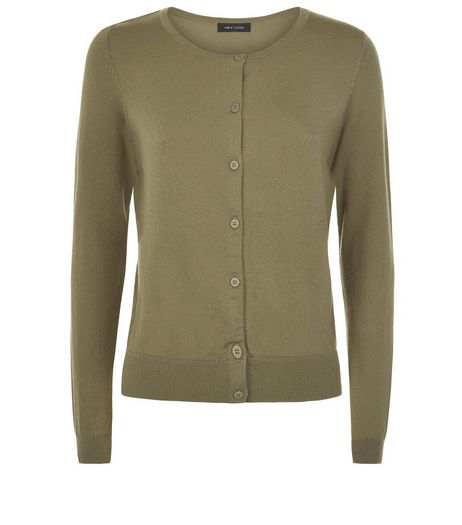 Khaki Crew Neck Cardigan | New Look