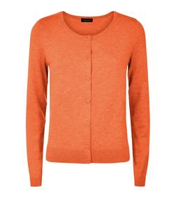 Bright Orange Crew Neck Cardigan | New Look