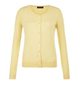 Yellow Crew Neck Cardigan | New Look