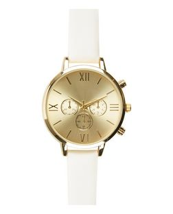 White Leather-Look Skinny Strap Watch | New Look