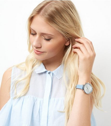 Blue Skinny Strap Watch | New Look