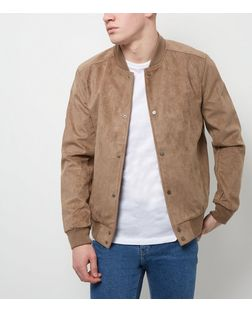 Tan Suedette Bomber Jacket  | New Look