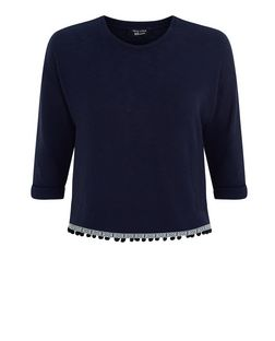 Teens Blue Fine Knit Pom Pom Hem Roll Sleeve Top  | New Look