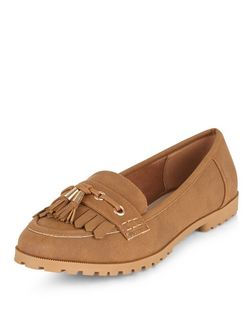 Teens Tan Suedette Fringed Loafers | New Look