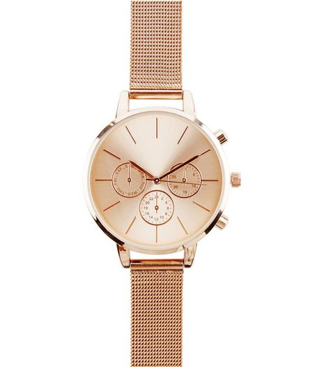 Rose Gold Mesh Strap Watch  | New Look