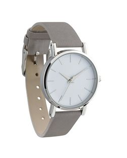 Grey Strap Silver Watch  | New Look