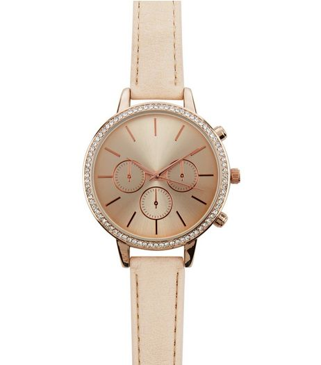 Pink Diamante Leather-Look Strap Watch | New Look