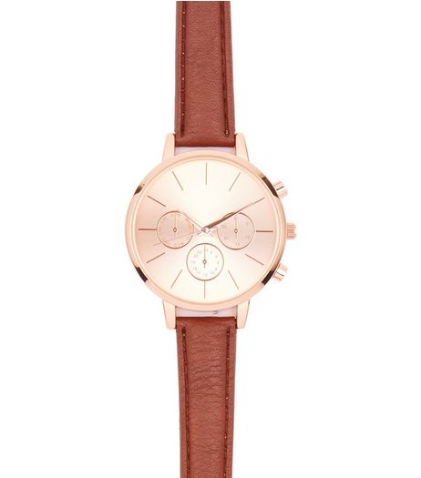 Brown Leather-Look Strap Mini Dial Watch  | New Look