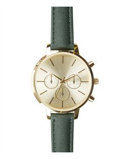 Green Leather-Look Strap Watch | New Look