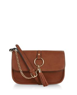 Tan Tassel Chain Shoulder Bag  | New Look