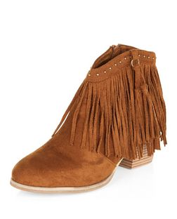 Teens Tan Fringe Stud Ankle Boots | New Look
