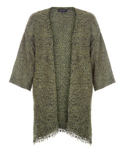 Khaki Twist Knit Fringed Kimono Cardigan  | New Look