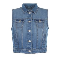 Teens Blue Denim Sleeveless Jacket | New Look