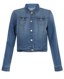 Teens Blue Denim Double Pocket Jacket  | New Look