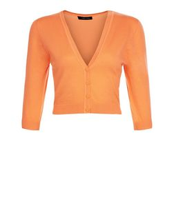 Bright Orange Cropped Cardigan | New Look