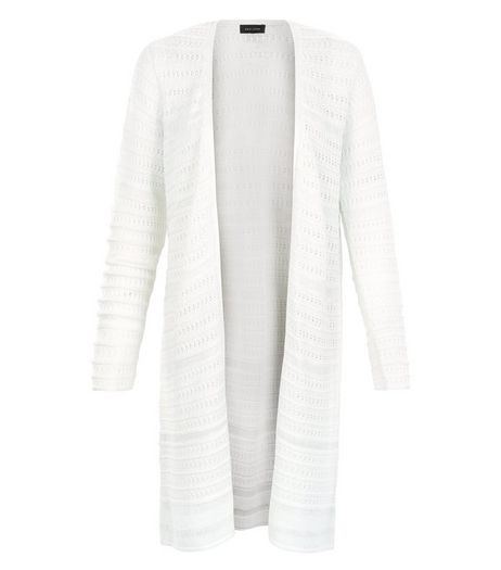 White Ladder Pointelle Midi Cardigan  | New Look