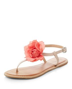 Stone Leather Flower Sandals | New Look