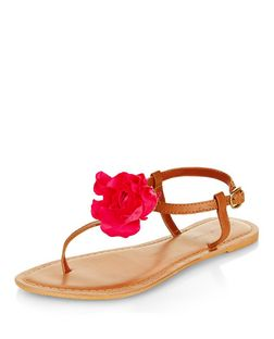 Tan Leather Flower Sandals | New Look