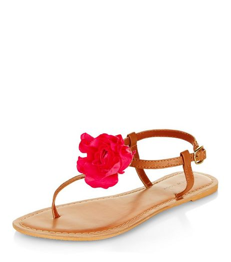 Tan Leather Contrast Flower Sandals | New Look