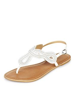 White Leather Beaded Twist Strap Sandals  | New Look