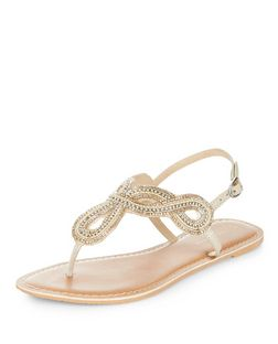 Stone Leather Beaded Twist Strap Sandals  | New Look