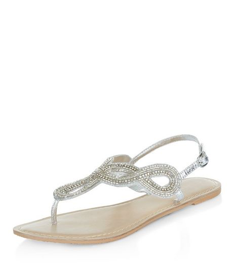 Silver Leather Beaded Twist Strap Sandals  | New Look