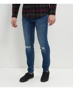 Blue Stonewash Ripped Knee Skinny Jeans  | New Look