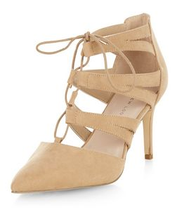 Wide Fit Cream Suedette Pointed Ghillie Heels  | New Look