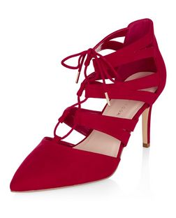 Wide Fit Red Suedette Pointed Ghillie Heels  | New Look
