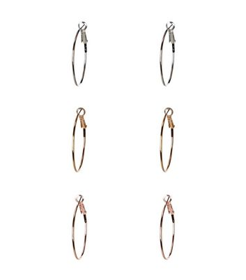 3 Pack Silver Gold and Rose Gold Hoop Earrings