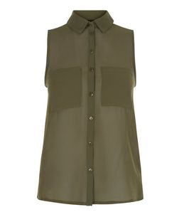 Teens Khaki Chiffon Sleeveless Shirt | New Look