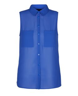 Teens Blue Chiffon Sleeveless Shirt | New Look